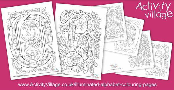 Two new letters for our Illuminated Alphabet Colouring Pages series - O and B