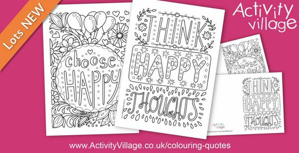 """Adding to our colouring quotes with 2 """"happy"""" pages!"""
