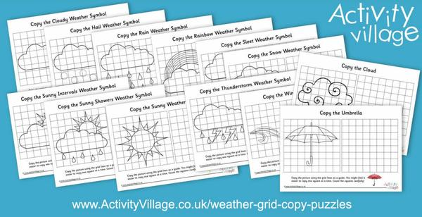 Beginning our weather puzzle collection with these weather themed grid copy puzzles