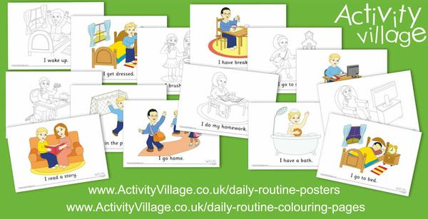 New labelled daily routines posters and colouring pages