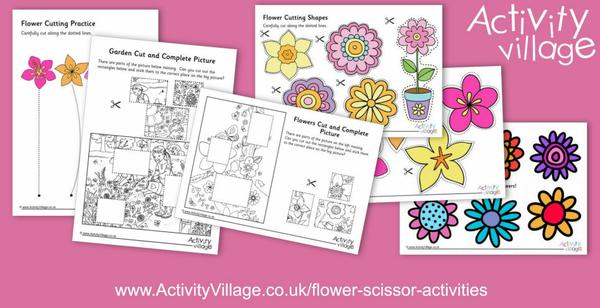 New flower scissor activities for cutting practice and crafts