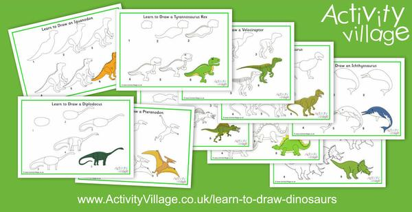 Have some fun with the kids, learning to draw our friendly dinosaurs!