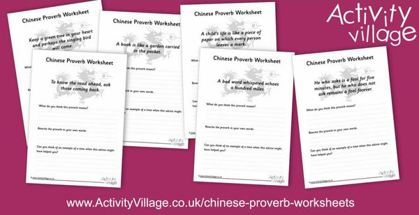 Interesting worksheets based on favourite Chinese proverbs