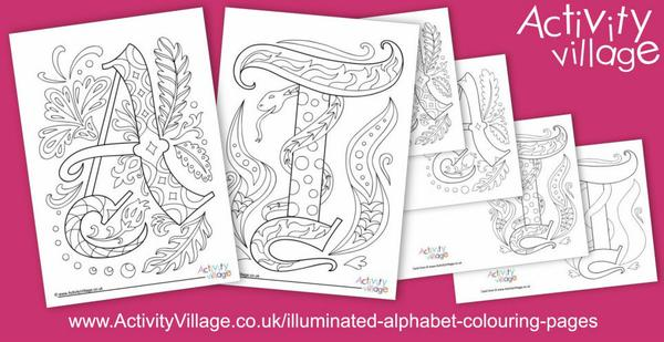 Illuminated alphabet colouring pages and cards for letters A and T