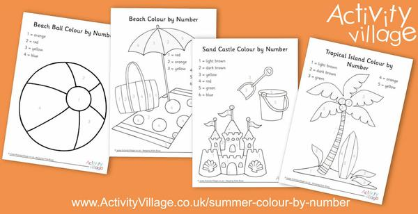 Summer colour by number pages