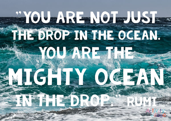 """""""You are not just the drop in the ocean. You are the mighty ocean in the drop."""" Rumi"""