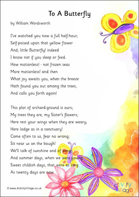 To A Butterfly poem printable