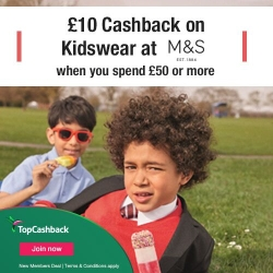 £10 cashback on kidswear at M&S