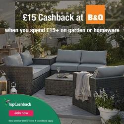 £15 cashback at B&Q