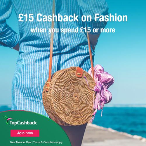 £15 cashback on fashion