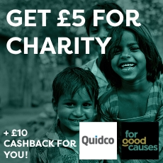 Get £5 for charity with Quidco