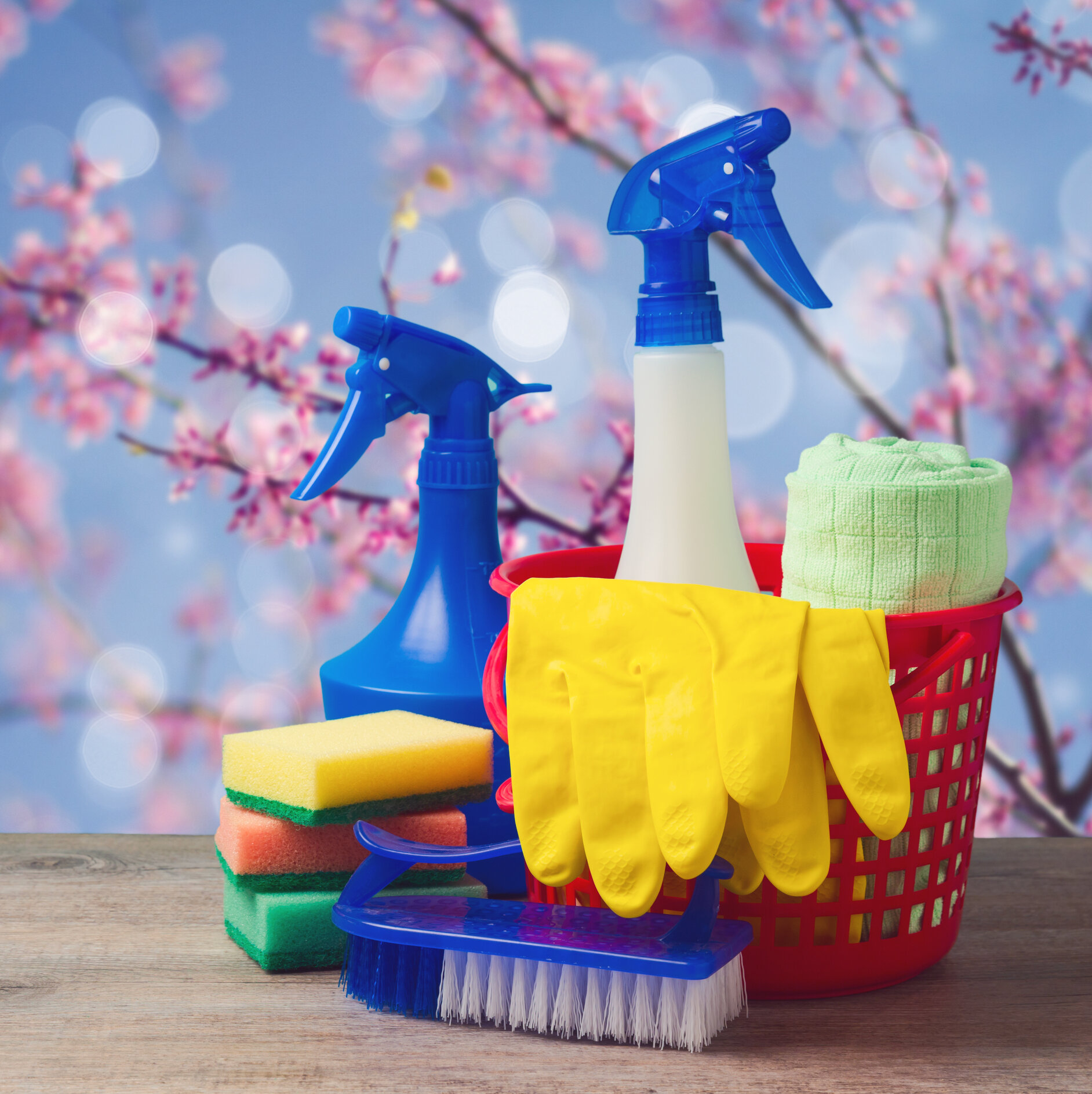 Bucket of spring cleaning supplies