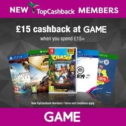 £15 cashback at GAME
