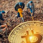 Mini figures mining a Bitcoin