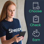 A woman uses the Shepper app