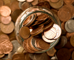 A pile of pennies and small denomination coins