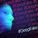 An AI face with a deepfake hashtag