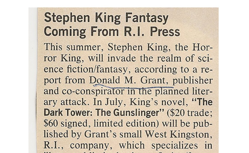"Stephen King ""The Dark Tower"" 1982 Article from Publisher's Weekly"