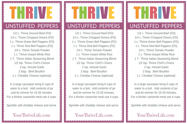 Unstuffed Peppers Labels