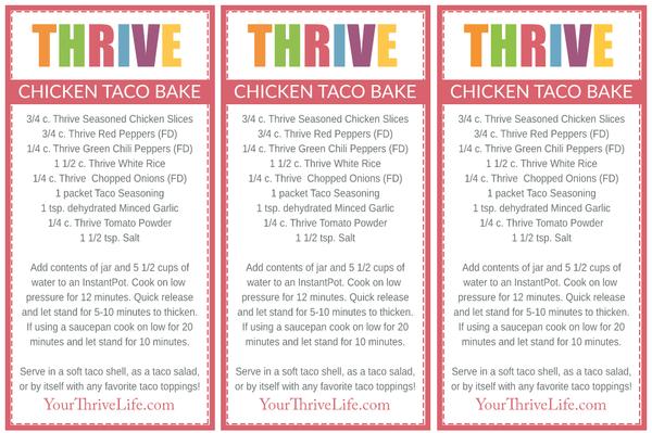 Chicken Taco Bake Labels
