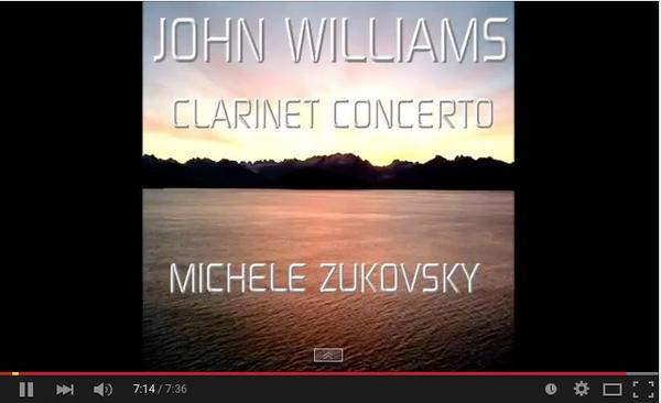 Image of MIchele Zukovsky video performing the John Williams Clarinet Concerto 2nd movement