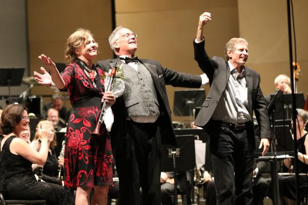 Image of Michelle with the Pacific Symphonic Wind Ensemble and composer Frank Ticheli