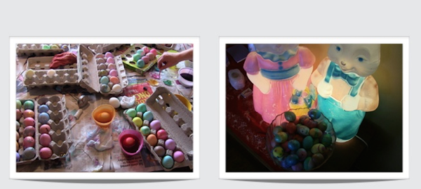 Easter eggs and bunny photo