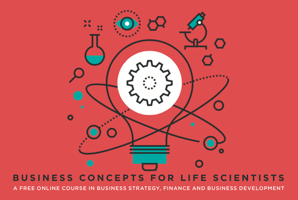 Promo image for Business Concepts for Life Scientists course: drawn lightbulb surrounded by science-related icons: microscope, flask, molecules