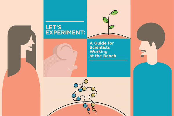 Promo image for Let's Experiment course: drawn man, woman, mouse, plant and molecule with title of the course
