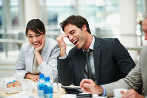 Laughter and Laughing to relieve stress in a business meeting