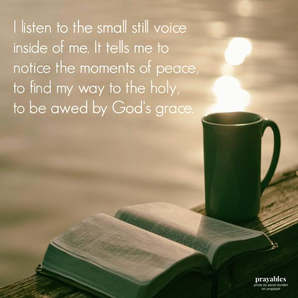 I listen to the small still voice inside of me. It tells me to notice the moments of peace, to find my way to the holy, to be awed by God's grace.