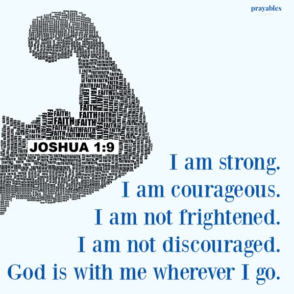 Joshua 1:9  I am strong. I am courageous. I am not frightened. I am not discouraged. God is with me wherever I go.