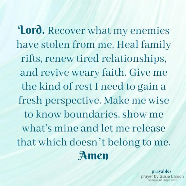 Lord. Recover what my enemies have stolen from me. Heal family rifts, renew tired relationships, and revive weary faith. Give me the kind of rest I need to gain a fresh perspective. Make me wise to know boundaries, show me what's mine and let me release that which doesn't belong to me.  Amen
