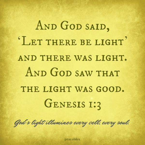 Genesis 1:3 And God said, 'Let there be light' and there was light. And God saw that the light was good.  God's light illumines every cell, every soul.