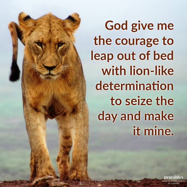 God give me the courage to leap out of bed with lion-like determination to seize the day and make it mine.