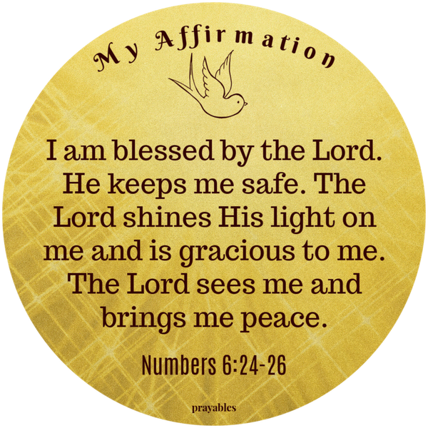Numbers 6:24-26 I am blessed by the Lord. He keeps me safe. The Lord shines His light on me and is gracious to me. The Lord sees me and brings me peace.