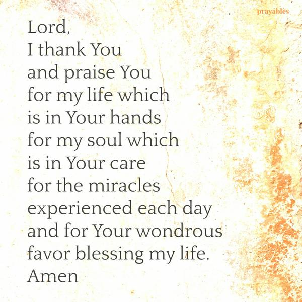 Lord, I thank You and praise You for my life which is in Your hands for my soul which is in Your care for the miracles experienced each day and for Your wondrous favor blessing my life. Amen