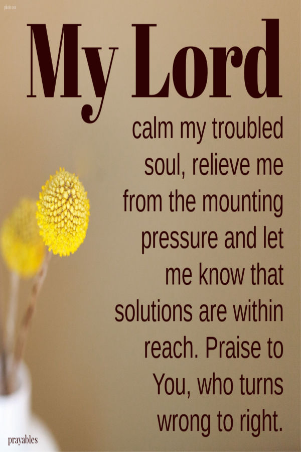 My Lord, calm my troubled soul, relieve me from the mounting pressure and let me know that solutions are within reach. Praise to You, who turns wrong to right.