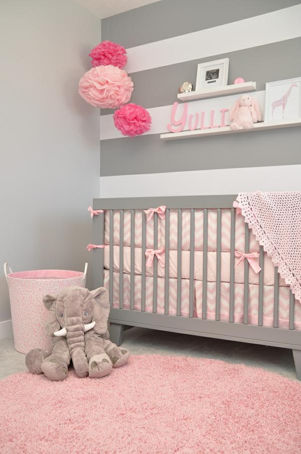 Ideas para habitaciones infantiles en color rosa for Habitacion bebe gris