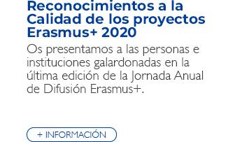 Reconocimientos a la Calidad de los proyectos Erasmus+ 2020