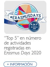 """""""Top 5"""" en número de actividades registradas en Erasmus Days 2020"""