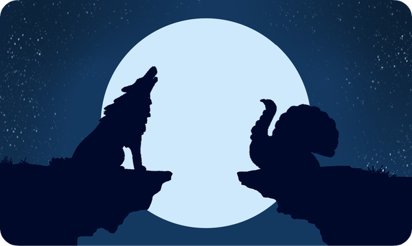 A howling wolf on the left and a howling turkey on the right in front of a full moon.
