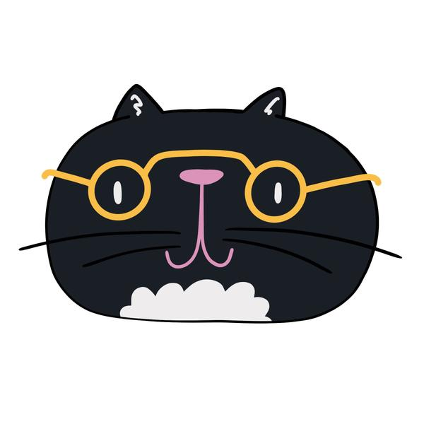 A black cat with gold glasses