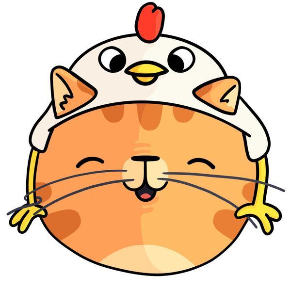 An orange cat with a chicken hat