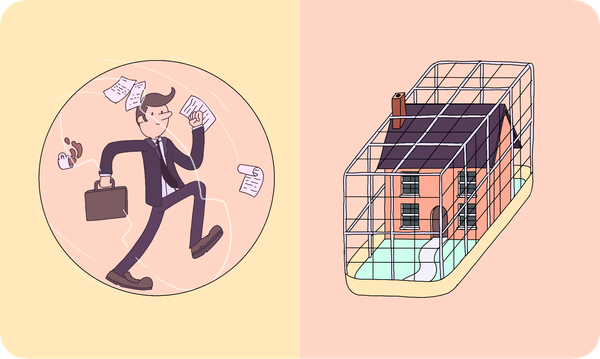 A business man in a human-sized hamster ball on the left and a house in a house-sized hamster cage on the right.