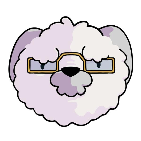 An old white dog with spectacles