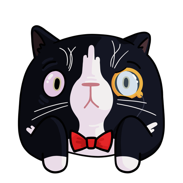 Steve, a tuxedo cat with a monocle.