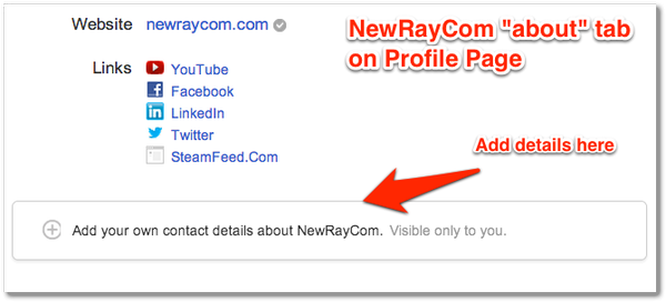 Google+ Profile About Page Contact Details